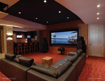 Design Home Theater on Stretch Trak System Provides The Ultimate In Home Theater Design